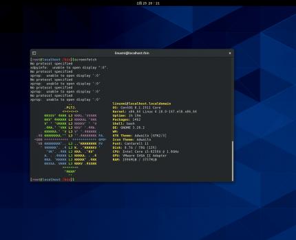 CentOS 8安装screenfetch命令显示Linux版本信息