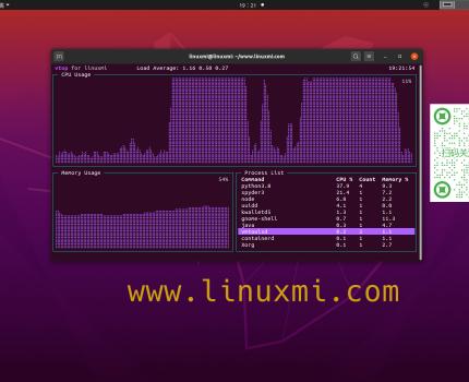 vtop – Linux进程和内存活动监视工具